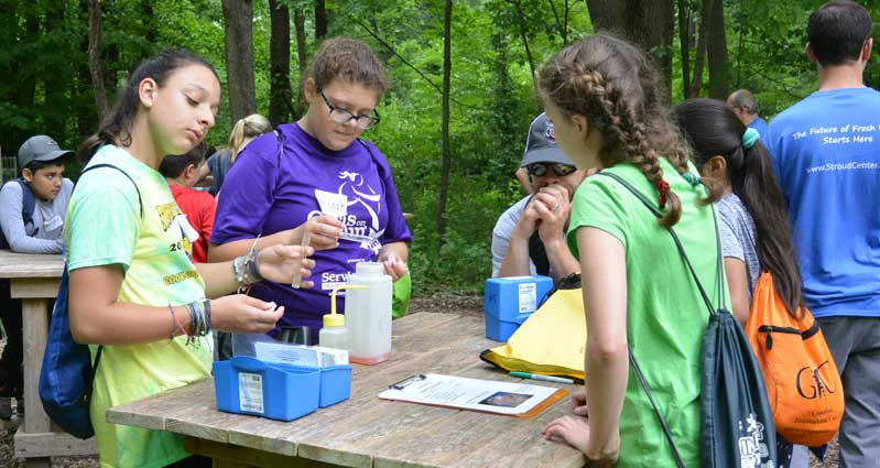 Sixth-grade students doing water chemistry test in the outdoor classroom